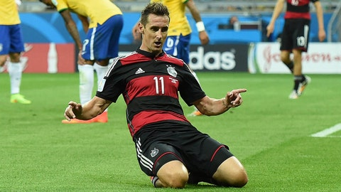 July 8, 2014; Belo Horizonte, BRAZIL; Germany player Miroslav Klose celebrates after scoring a goal against Brazil in the first half during the semifinal match in the 2014 World Cup at Mineirao Stadium.  Mandatory Credit: Tim Groothuis/Witters Sport via USA TODAY Sports