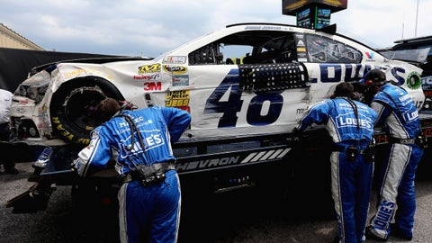 during the NASCAR Sprint Cup Series Camping World RV Sales 301 at New Hampshire Motor Speedway on July 13, 2014 in Loudon, New Hampshire.