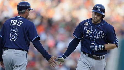 Tampa Bay Rays' Evan Longoria, right, rounds the bases and is congratulated by third base coach Tom Foley after his solo home run during the fourth inning of a baseball game against the Detroit Tigers in Detroit, Friday, July 4, 2014. (AP Photo/Carlos Osorio)