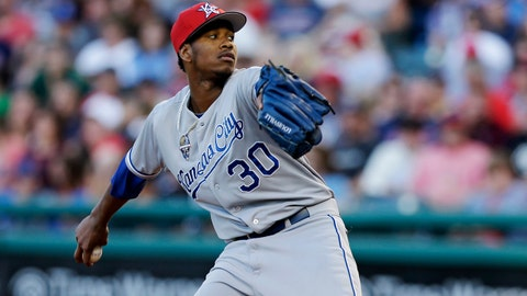 Kansas City Royals starting pitcher Yordano Ventura delivers in the third inning of a baseball game against the Cleveland Indians, Friday, July 4, 2014, in Cleveland. Ventura pitched 8 and 1/3 innings and gave up six hits and one run. The Royals defeated the Indians 7-1. (AP Photo/Tony Dejak)