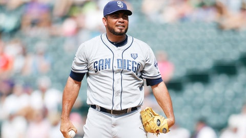 Jul 9, 2014; Denver, CO, USA; San Diego Padres pitcher Joaquin Benoit (56) during the eighth inning against the Colorado Rockies at Coors Field. The Rockies won 6-3.  Mandatory Credit: Chris Humphreys-USA TODAY Sports