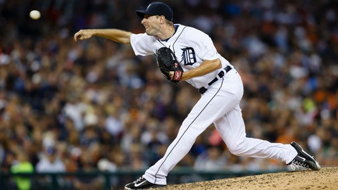 Jul 3, 2014; Detroit, MI, USA; Detroit Tigers starting pitcher Max Scherzer (37) pitches in the eighth inning against the Tampa Bay Rays at Comerica Park. Mandatory Credit: Rick Osentoski-USA TODAY Sports