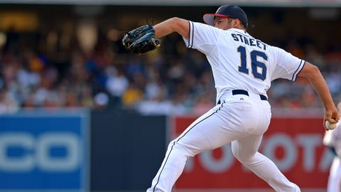 Jul 4, 2014; San Diego, CA, USA; San Diego Padres relief pitcher Huston Street (16) pitches during the ninth inning after the game at Petco Park. Mandatory Credit: Jake Roth-USA TODAY Sports
