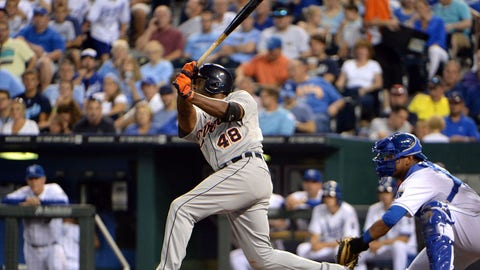 Jul 10, 2014; Kansas City, MO, USA; Detroit Tigers right fielder Torii Hunter (48) drives in a run with a single against the Kansas City Royals in the fifth inning at Kauffman Stadium. Mandatory Credit: John Rieger-USA TODAY Sports
