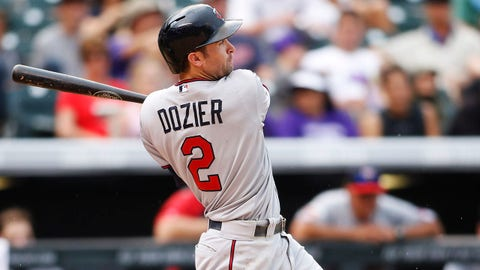 Jul 13, 2014; Denver, CO, USA; Minnesota Twins second baseman Brian Dozier (2) hits a home run during the ninth inning against the Colorado Rockies at Coors Field. The Twins won 13-5.  Mandatory Credit: Chris Humphreys-USA TODAY Sports