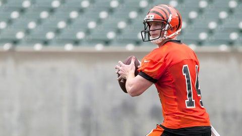 Jun 11, 2014; Cincinnati, OH, USA; Cincinnati Bengals quarterback Andy Dalton (14) during minicamp at Paul Brown Stadium. Mandatory Credit: Aaron Doster-USA TODAY Sports