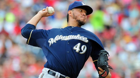 Jul 20, 2014; Washington, DC, USA; Milwaukee Brewers pitcher Yovani Gallardo (49) throws a pitch in the first inning against the Washington Nationals at Nationals Park. Mandatory Credit: Evan Habeeb-USA TODAY Sports