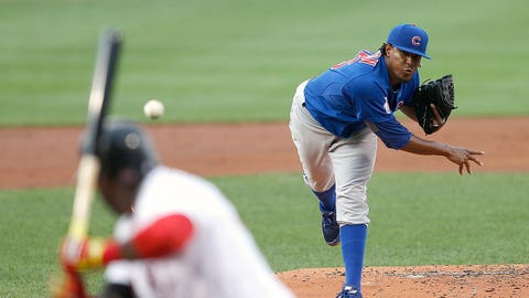 BOSTON, MA - JULY 1: Edwin Jackson #36 of the Chicago Cubs throws against David Ortiz #34 of the Boston Red Sox in the first inning at Fenway Park on July 1, 2014 in Boston, Massachusetts.  (Photo by Jim Rogash/Getty Images)
