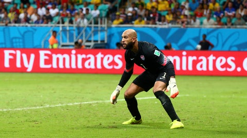 Jul 1, 2014; Salvador, BRAZIL; United States goalkeeper Tim Howard (1) against Belgium during the round of sixteen match in the 2014 World Cup at Arena Fonte Nova. Belgium defeated USA 2-1 in overtime. Mandatory Credit: Mark J. Rebilas-USA TODAY Sports