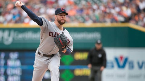 Jul 19, 2014; Detroit, MI, USA; Cleveland Indians starting pitcher Corey Kluber (28) pitches during the first inning against the Detroit Tigers at Comerica Park. Mandatory Credit: Tim Fuller-USA TODAY Sports