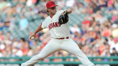 Jul 12, 2014; Cleveland, OH, USA; Cleveland Indians relief pitcher Austin Adams (49) pitches during the ninth inning against the Chicago White Sox at Progressive Field. The White Sox beat the Indians 6-2. Mandatory Credit: Ken Blaze-USA TODAY Sports