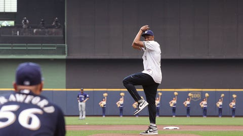 MILWAUKEE, WI - JUNE 28:  Jabari Parker #12 of the Milwaukee Bucks throws out the first pitch before the Milwaukee Brewers game on June 28, 2014 at Miller Park in Milwaukee, Wisconsin. NOTE TO USER:  User expressly acknowledges and agrees that, by downloading and or using this Photograph, user is consenting to the terms and conditions of the Getty Images License Agreement.  Mandatory Copyright Notice:  Copyright 2014 NBAE (Photo by Gary Dineen/NBAE via Getty Images)