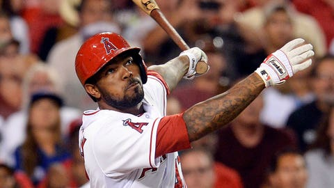 Jul 7, 2014; Anaheim, CA, USA;  Los Angeles Angels second baseman Howie Kendrick (47) at bat in the fifth inning of the game against the Toronto Blue Jays at Angel Stadium of Anaheim. Mandatory Credit: Jayne Kamin-Oncea-USA TODAY Sports