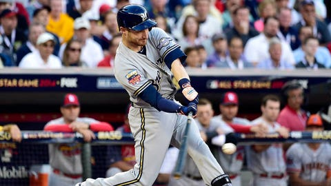 Jul 15, 2014; Minneapolis, MN, USA; National League catcher Jonathan Lucroy (20) of the Milwaukee Brewers hits a RBI double in the second inning during the 2014 MLB All Star Game at Target Field. Mandatory Credit: Scott Rovak-USA TODAY Sports