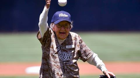 SAN DIEGO, CA - JULY 20: 105-year-old Agnes McKee throws out the first pitch before a baseball game between the New York Mets and the San Diego Padres at Petco Park July 20, 2014 in San Diego, California.  (Photo by Denis Poroy/Getty Images)