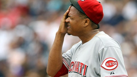 Jul 19, 2014; Bronx, NY, USA; Cincinnati Reds starting pitcher Alfredo Simon (31) reacts against the New York Yankees during the third inning at Yankee Stadium. Mandatory Credit: Adam Hunger-USA TODAY Sports