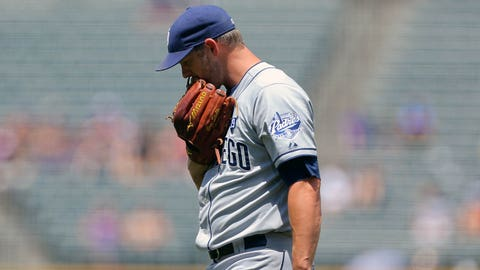DENVER, CO - JULY 9:  Starting pitcher Eric Stults #53 of the San Diego Padres walks off the field after giving up two home runs during the first inning against the Colorado Rockies at Coors Field on July 9, 2014 in Denver, Colorado. (Photo by Justin Edmonds/Getty Images)