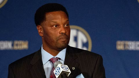 Jul 15, 2014; Hoover, AL, USA; Texas A&M Aggies head coach Kevin Sumlin talks to the media during the SEC Football Media Days at the Wynfrey Hotel. Mandatory Credit: Marvin Gentry-USA TODAY Sports