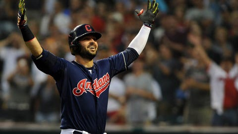 Jul 8, 2014; Cleveland, OH, USA; Cleveland Indians first baseman Nick Swisher (33) celebrates after hitting a two run home run during the sixth inning against the New York Yankees at Progressive Field. Mandatory Credit: Ken Blaze-USA TODAY Sports
