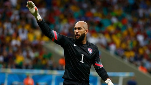 Tim Howard of the U.S. gestures during their 2014 World Cup round of 16 game against Belgium at the Fonte Nova arena in Salvador July 1, 2014. REUTERS/Michael Dalder (BRAZIL  - Tags: SOCCER SPORT WORLD CUP)   