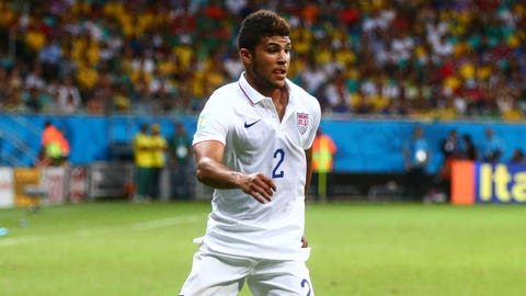 Jul 1, 2014; Salvador, BRAZIL; United States defender DeAndre Yedlin (2) controls the ball against Belgium during the round of sixteen match in the 2014 World Cup at Arena Fonte Nova. Belgium defeated USA 2-1 in overtime. Mandatory Credit: Mark J. Rebilas-USA TODAY Sports