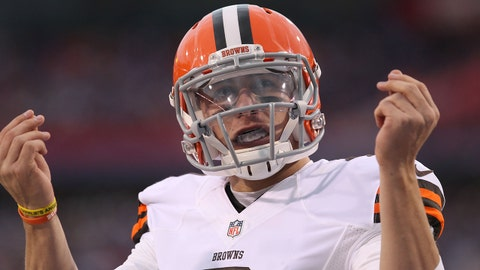 Nov 30, 2014; Orchard Park, NY, USA; Cleveland Browns quarterback Johnny Manziel (2) celebrates after scoring a touchdown in the second half against the Buffalo Bills at Ralph Wilson Stadium. The Bills won 26-10. Mandatory Credit: Timothy T. Ludwig-USA TODAY Sports