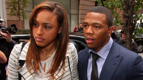 Nov 5, 2014; New York, NY, USA; Suspended NFL running back Ray Rice arrives with his wife, Janay Rice for his appeal hearing on his indefinite suspension from the NFL. Mandatory Credit: Brad Penner-USA TODAY