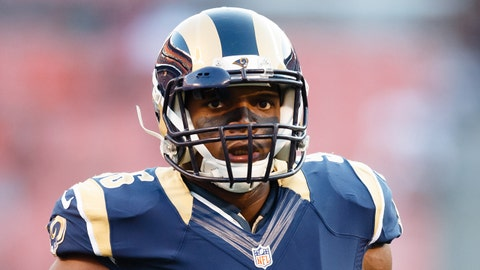 Aug 23, 2014; Cleveland, OH, USA; St. Louis Rams defensive end Michael Sam (96) during warm ups before the game against the St. Louis Rams at FirstEnergy Stadium. Mandatory Credit: Rick Osentoski-USA TODAY Sports