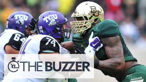 WACO, TX - OCTOBER 11:  Shawn Oakman #2 of the Baylor Bears lines up against the TCU Horned Frogs on October 11, 2014 at McLane Stadium in Waco, Texas.  (Photo by Cooper Neill/Getty Images)
