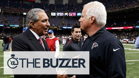 NEW ORLEANS, LA - DECEMBER 21:  Head coach Mike Smith of the Atlanta Falcons meets with owner Arthur Blank following a game against the New Orleans Saints at the Mercedes-Benz Superdome on December 21, 2014 in New Orleans, Louisiana.  (Photo by Sean Gardner/Getty Images)