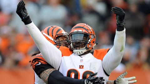 Dec 14, 2014; Cleveland, OH, USA; Cincinnati Bengals defensive tackle Brandon Thompson (98) celebrates his sack of Cleveland Browns quarterback Johnny Manziel (not pictured) during the third quarter at FirstEnergy Stadium. The Bengals beat the Browns 30-0. Mandatory Credit: Ken Blaze-USA TODAY Sports