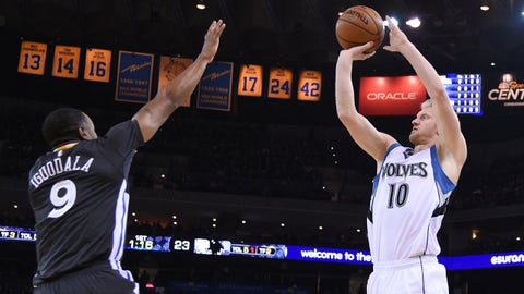 December 27, 2014; Oakland, CA, USA; Minnesota Timberwolves forward Chase Budinger (10) shoots the basketball against Golden State Warriors guard Andre Iguodala (9) during the first quarter at Oracle Arena. Mandatory Credit: Kyle Terada-USA TODAY Sports