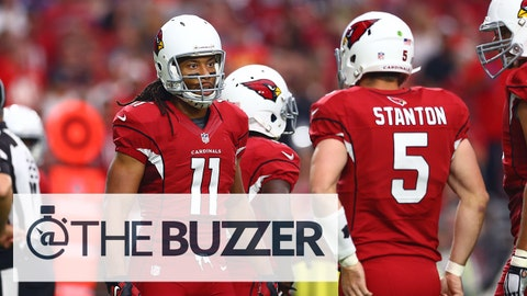 Dec 7, 2014; Glendale, AZ, USA; Arizona Cardinals wide receiver Larry Fitzgerald (11) talks with quarterback Drew Stanton (5) against the Kansas City Chiefs at University of Phoenix Stadium. The Cardinals defeated the Chiefs 17-14. Mandatory Credit: Mark J. Rebilas-USA TODAY Sports