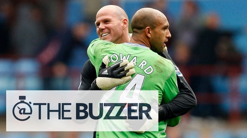 BIRMINGHAM, ENGLAND - APRIL 12:  Everton goalkeeper Tim Howard (R) embraces fellow USA keeper Brad Friedel after the Premier League match between Aston Villa and Everton at Villa Park on April 12, 2009 in Birmingham, England.  (Photo by Stu Forster/Getty Images) *** Local Caption *** Tim Howard;Brad Friedel