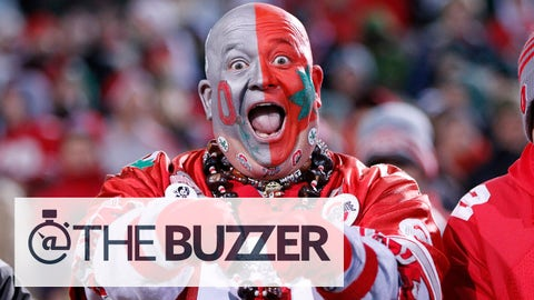 EAST LANSING, MI - NOVEMBER 8: An Ohio State Buckeyes fan gets ready for the game against the Michigan State Spartans at Spartan Stadium on November 8, 2014 in East Lansing, Michigan. (Photo by Joe Robbins/Getty Images)