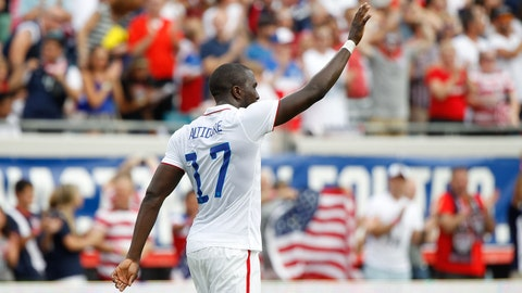 Jun 7, 2014; Jacksonville, FL, USA; United States forward Jozy Altidore (17) celebrates after he scored against the Nigeria at EverBank Field. Mandatory Credit: Kim Klement-USA TODAY Sports
