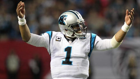 Dec 28, 2014; Atlanta, GA, USA; Carolina Panthers quarterback Cam Newton (1) reacts against the Atlanta Falcons in the fourth quarter at the Georgia Dome. The Panthers defeated the Falcons 34-3. Mandatory Credit: Brett Davis-USA TODAY Sports