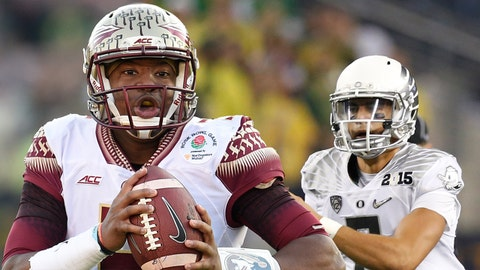 Jan 1, 2015; Pasadena, CA, USA; Florida State Seminoles quarterback Jameis Winston (5) runs with the ball during the first half of the 2015 Rose Bowl college football game against the Oregon Ducks at Rose Bowl. Mandatory Credit: Kelvin Kuo-USA TODAY Sports