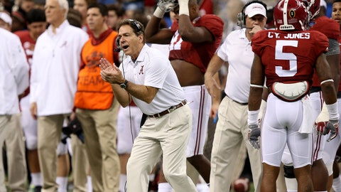 Jan 1, 2015; New Orleans, LA, USA; Alabama Crimson Tide head coach Nick Saban reacts to a big play against the Ohio State Buckeyes in the second quarter of the 2015 Sugar Bowl at Mercedes-Benz Superdome. Mandatory Credit: Chuck Cook-USA TODAY Sports