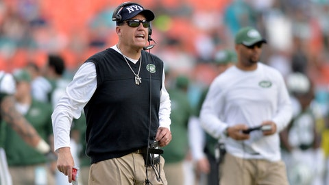 Dec 28, 2014; Miami Gardens, FL, USA; New York Jets head coach Rex Ryan yells out from the sideline during the second half  against the Miami Dolphins at Sun Life Stadium. Mandatory Credit: Steve Mitchell-USA TODAY Sports