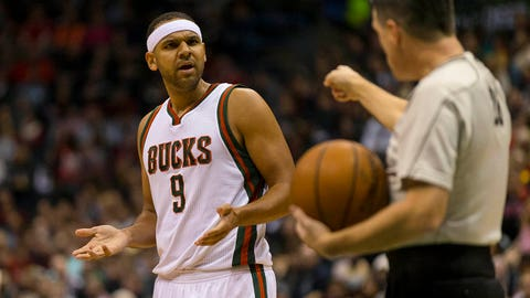 Jan 2, 2015; Milwaukee, WI, USA; Milwaukee Bucks guard Jared Dudley (9) reacts after being called for a technical foul during the third quarter against the Indiana Pacers at BMO Harris  Bradley Center. Mandatory Credit: Jeff Hanisch-USA TODAY Sports