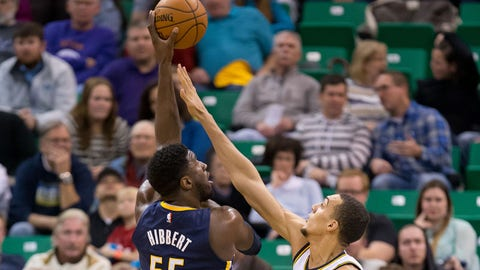 Jan 5, 2015; Salt Lake City, UT, USA; Indiana Pacers center Roy Hibbert (55) shoots against Utah Jazz center Rudy Gobert (27) during the first half at EnergySolutions Arena. Mandatory Credit: Russ Isabella-USA TODAY Sports