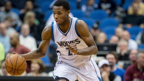 Jan 3, 2015; Minneapolis, MN, USA; Minnesota Timberwolves guard Andrew Wiggins (22) dribbles up the court against the Utah Jazz in the second quarter at Target Center. The Jazz win 101-89. Mandatory Credit: Bruce Kluckhohn-USA TODAY Sports