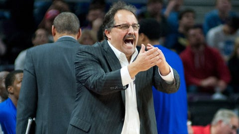 Jan 9, 2015; Auburn Hills, MI, USA; Detroit Pistons head coach Stan Van Gundy during the fourth quarter against the Atlanta Hawks at The Palace of Auburn Hills. Atlanta won 106-103. Mandatory Credit: Tim Fuller-USA TODAY Sports
