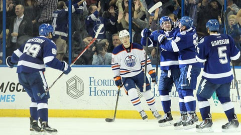 Jan 15, 2015; Tampa, FL, USA; Tampa Bay Lightning left wing Ondrej Palat (18) is congratulated by teammates after he scored against the Edmonton Oilers during the third period at Amalie Arena.Tampa Bay Lightning defeated the Edmonton Oilers 3-2. Mandatory Credit: Kim Klement-USA TODAY Sports