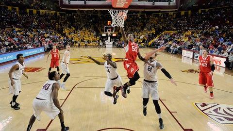 Jan 15, 2015; Tempe, AZ, USA; Utah Utes guard Delon Wright (55) puts up a layup against the Arizona State Sun Devils during the first half at Wells-Fargo Arena. Mandatory Credit: Joe Camporeale-USA TODAY Sports