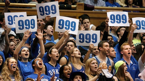 Jan 19, 2015; Durham, NC, USA; Duke Blue Devils fans celebrate their 79-65 win over the Pittsburgh Panthers marking Duke Blue Devils head coach Mike Krzyzewski's 999 career win in their game at Cameron Indoor Stadium. Mandatory Credit: Mark Dolejs-USA TODAY Sports