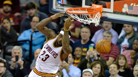 Jan 21, 2015; Cleveland, OH, USA; Cleveland Cavaliers forward LeBron James (23) dunks in the second quarter against the Utah Jazz at Quicken Loans Arena. Mandatory Credit: David Richard-USA TODAY Sports