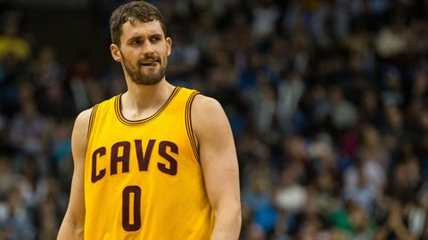 Jan 31, 2015; Minneapolis, MN, USA; Cleveland Cavaliers forward Kevin Love (0) looks on during the fourth quarter against the Minnesota Timberwolves at Target Center. The Cavaliers defeated the Timberwolves 106-90. Mandatory Credit: Brace Hemmelgarn-USA TODAY Sports