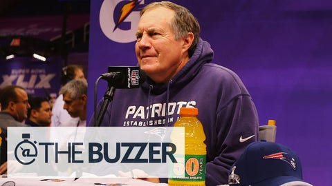 PHOENIX, AZ - JANUARY 27:  Head coach Bill Belichick of the New England Patriots addresses the media at Super Bowl XLIX Media Day Fueled by Gatorade inside U.S. Airways Center on January 27, 2015 in Phoenix, Arizona.  (Photo by Elsa/Getty Images)